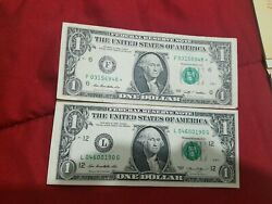 1 2009 Star Note And 2013 Dollar Bill Off Center Look
