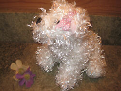 GANZ WEBKINZ WHITE TERRIER HM106 with pink polka dot bow Pre-owned dog No Code