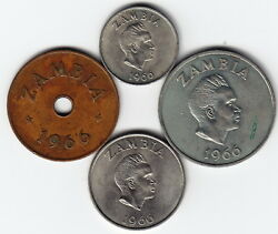 Zambia 1966 Complete 4-coin Set Km5-8 All 1yr Types High Grade - Extremely Rare