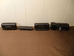 Marx Wind Up Train With Key And 3 Original Cars New York Central Lines