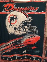 Miami Dolphins Nfl Tapestry Throw Fringed Blanket Afghan