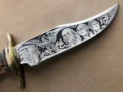 Texas Custom Made Antler Handle Knifewith Us Presidents Pictures And Hunting S.