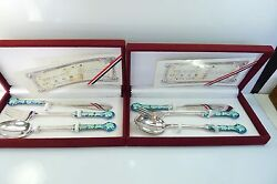 2 Chinese Boxed Sets Solid Silver And Emile Decorated Handles Spoon Fork And Knife