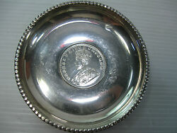 A Vintage Small Plate Made Of Silver Decorated With A 1918 One Rupee Coin