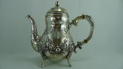 Old Germany Hallmarked Very Beautiful Art Nouveau Solid Silver Hinged Lid Teapot