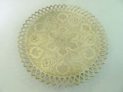 Antique Solid Silver Persian Hallmarked Beautiful Hand Engraved Tray