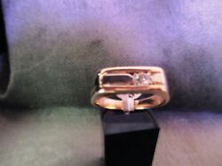 14 Kt Two Tone Men's Solid Gold And Diamond Ring.heavy