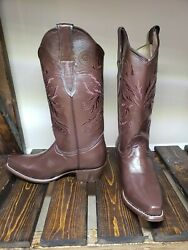 Women's New 100 Leather Brown Cowboy Boots Sz. 7.5 No Plastic Snipped Toe