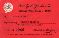 1965 Ny Yankees Ticket Pass Mickey Mantle Hr/roy White/bobby Murcer Debut Fr