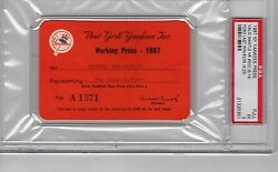 Mickey Mantle 1967 Psa Ticket Pass Hr 500 5/14/whitey Ford Last Win 236 Nyy