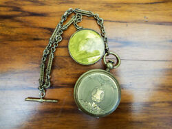 Antique Ior Temperance Aluminum Gold Pocket Fob Watch Albert Chain Fully Jeweled