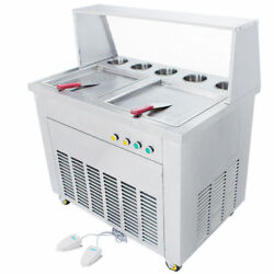 110V220V Fried Ice Cream Machine with Double Square Pans Ice Cream Roll Maker