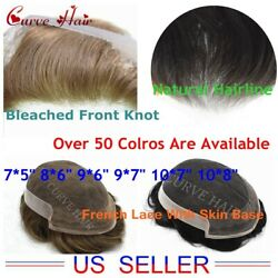 Lace Front Mens Toupee Npu Skin Around Hairpiece Off Black Human Hair System Us