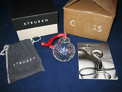 Steuben Glass Christmas Ornament Pear Excellent In Box