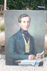 Top Work Belgian Oil Canvas Painting Portrait Ancestor F Houget 1883-1961 Signed
