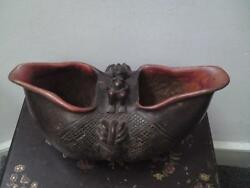 Rare huge Suku Kopa carved wooden Cup Drinking Vessel - African DR Congo