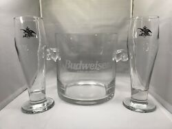 Rare And Co Budweiser Ice Bucket Plus 2 Black Eagle Beer Glasses