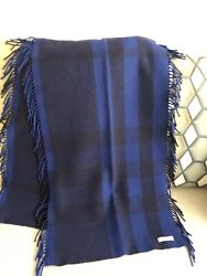 100% Authentic Burberry Large Check Blue Black Plaid Fringed Scarf. Great $189.00
