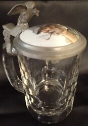 Antique Pressed Glass Stein W/ Porcelain Inlaid Peasant Pewter Lid And Eagle Lm125