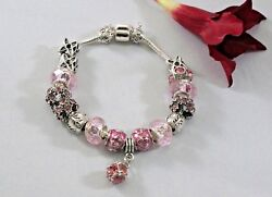Bracelet And Bangle Antique Silver Charm Original Women Glass Fit Pink And Silver