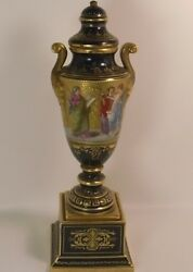Genuine Antique Royal Vienna Vase With Beehive Mark And Signature, 31 Cm H