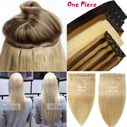 18202224 One Piece 100 Real Clip In Human Hair Extensions 3/4full Head Us55
