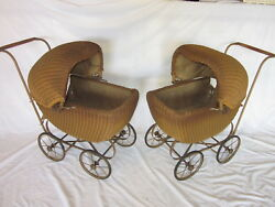 Wicker Doll Baby Carriage Buggy Stroller Pram Canopy Set Of 2 Matching Antique