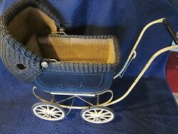 Wicker Doll Baby Carriage Buggy Stroller Pram Victorian Canopy Vintage Antique