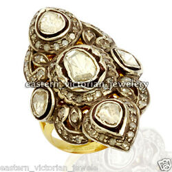 Vintage Style 3.68ct Genuine Rose Antique Cut Diamond Silver Bridal Ring Jewelry