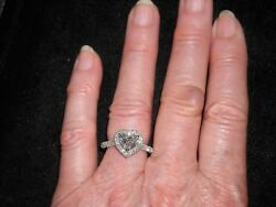 14k White Gold Engagement Diamond Ring 1.73 Tcw Heart Center H Si 2 .51 Ct Round