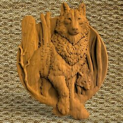 Wolf Animals Ornament Wood Carved Plaque Wall Hanging Art Work Home Decor