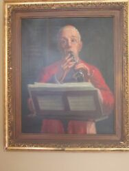 Oil On Canvas Painting Framed Cardinal Paying Clarinet