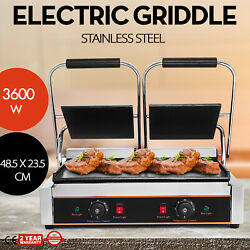 3600W Electric Twin Contact Grill Griddle Commercial Panini Stainless Steel