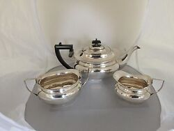 3 Piece Silver Plated Tea Service With A Raised Foot M M Henderson Spts 622