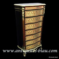 Furniture with 7 drawers in Boulle marquetry 19th Napoleon III period
