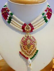 22k 22ct Yellow Gold Ruby Emerald Pearls Indian Bollywood Style Necklace Set Ind