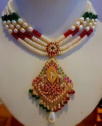 Ruby Emerald Pearl Set Bollywood Style Light Weight Necklace 22k Yellow Gold 22c