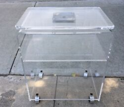 Vintage Lucite 3 Tier Tv Microwave End Stand Table Cart