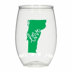 16 Oz Personalized Stemless Wine Glass Wedding Cups, Vermont Love Plastic Cups