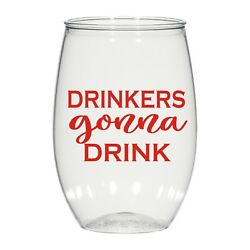 16oz Personalized Stemless Wine Glass, Wedding Cups, Drinkers Gonna Drink, Cups