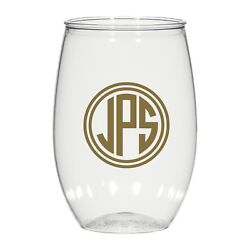 16oz Personalized Stemless Wine Glass, Wedding Cups, Monogram Cups, Plastic Cups