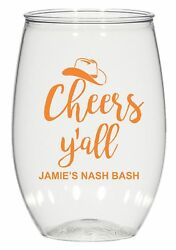 16oz Personalized Stemless Wine Glass, Wedding Cups, Cheers Y'all, Plastic Cups