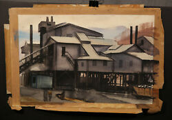 Great Quality American Illustration Gouache Vintage Coal Mine 1930and039s