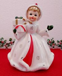 Vintage 1950's Napcoware Christmas Planter X-8390 Girl Carrying Presents Mint