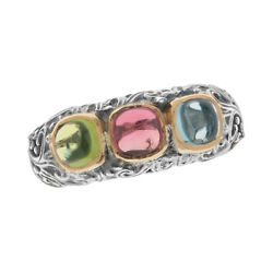 Gerochristo 2768n Solid Gold And Sterling Silver Multi Stone Band Ring