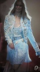Vintage Versace Jeans Couture Jacket Made Italy Blue Crystals Beads Size 42 Xs S