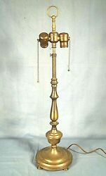Vintage Early 20th Century Baluster Turned Baroque Twin Socket Brass Lamp