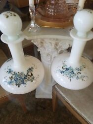 2 Hand Painted Victorian Milk Glass Bottles Decanters Perfume