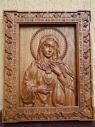 Immaculate Heart Of Mary Blessed Virgin Mary Wood Carved Catholic Wall Icon