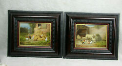Pair Oil Panel Painting Sheep Lamb Chicken Rooster Farm Signed Hilaire Bals